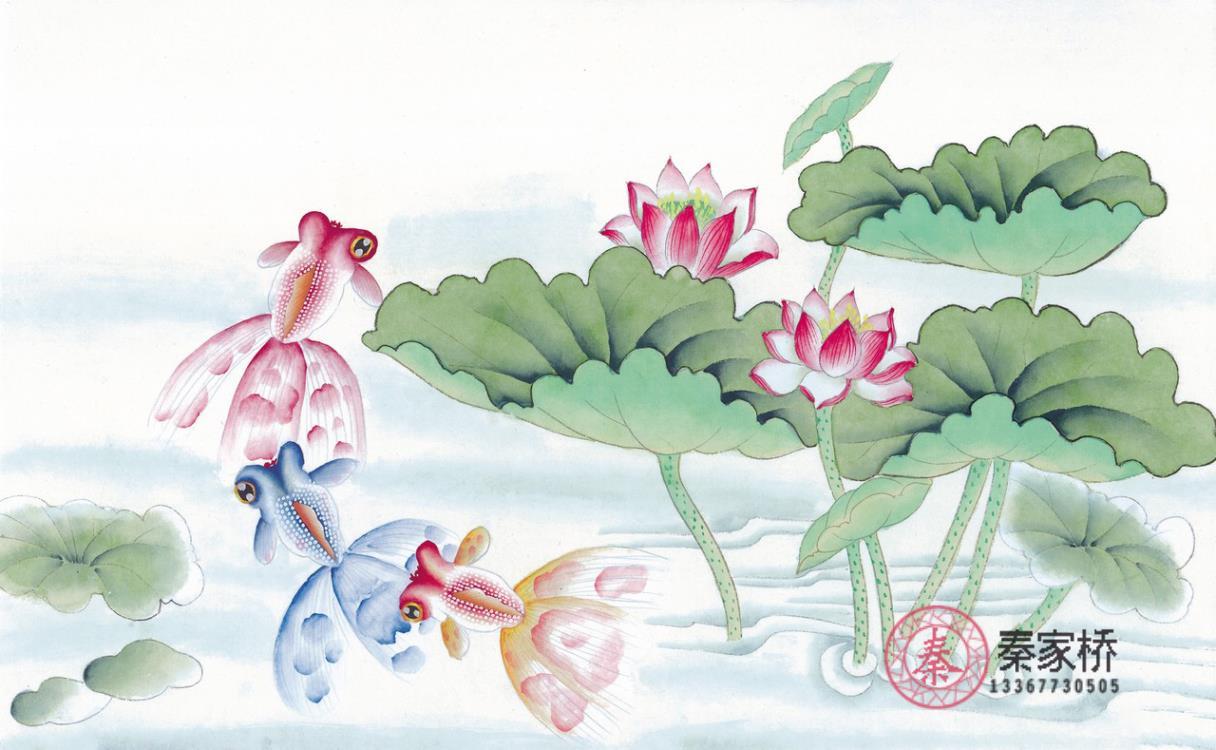 桂林墙绘-水墨画水中嬉戏图一素材