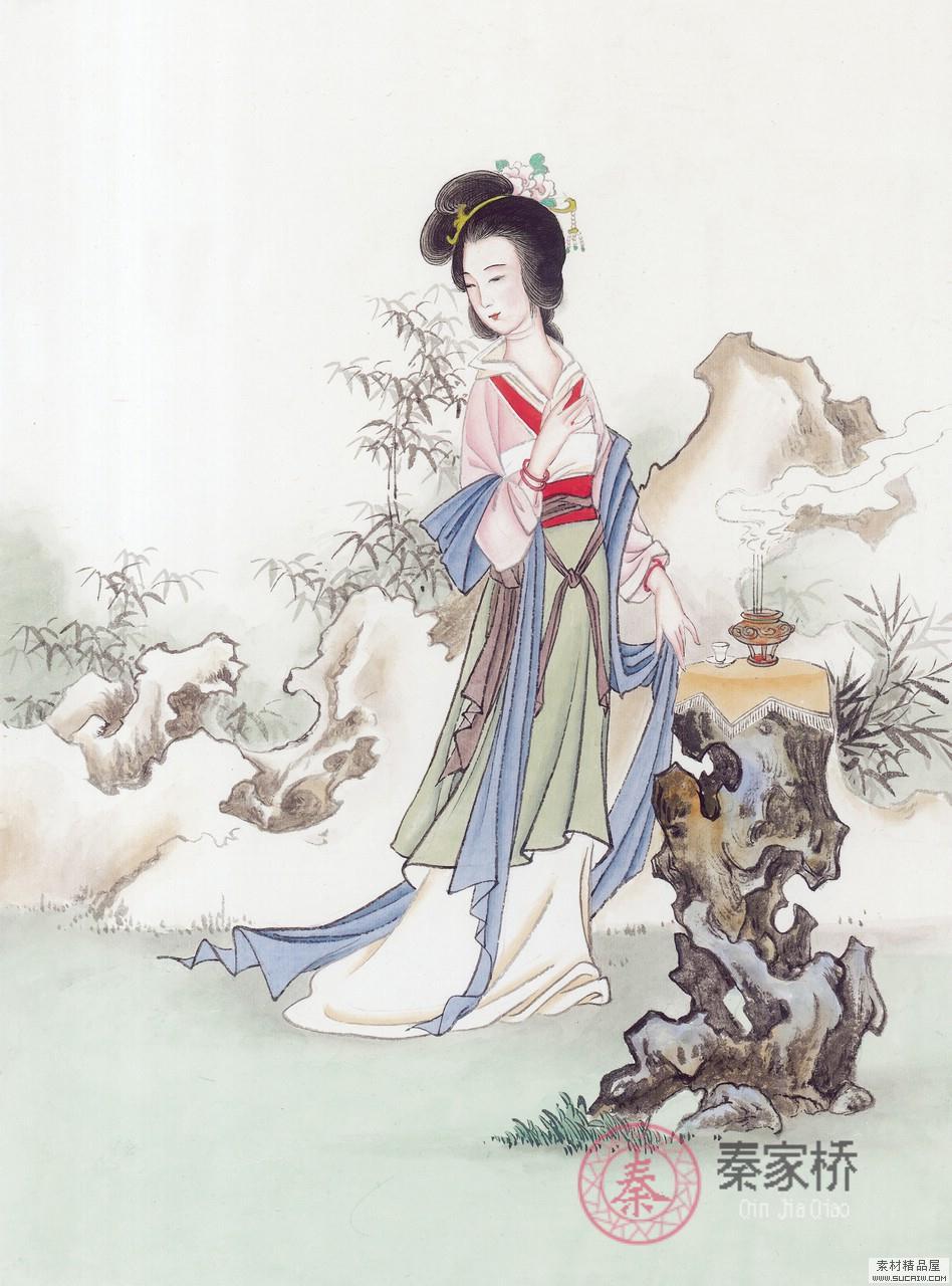 桂林墙绘-桂林山水画素女图一素材